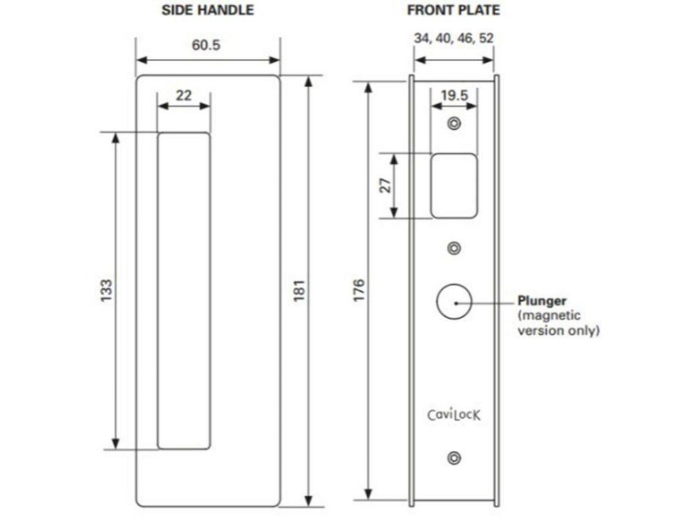 CL400 Magnetic Latching Sliding Door Passage Set