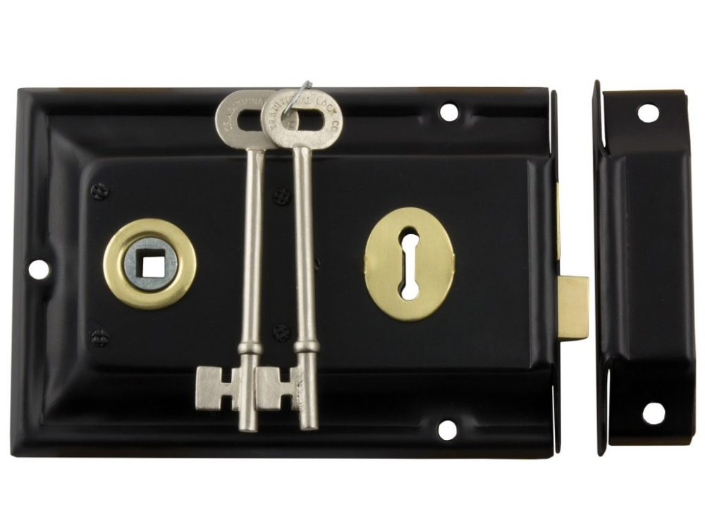 Tradco Low Security Rim Lock With Brass Trim