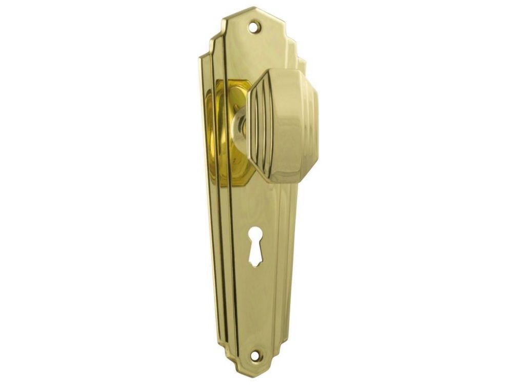 Elwood Art Deco Style Knob on Locking Plate