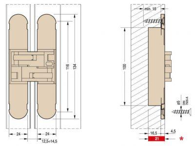 Ceam 70kg 3D Concealed Door Hinge