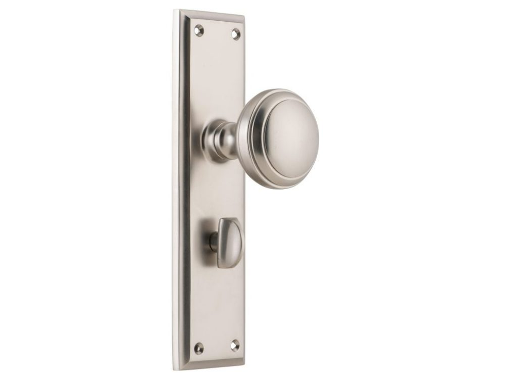 Milton Traditional Style Knob on Privacy Locking Long Plate