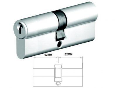 Lockwood 94mm C4 6 Pin Double Key Euro Cylinder Fixed E Cam