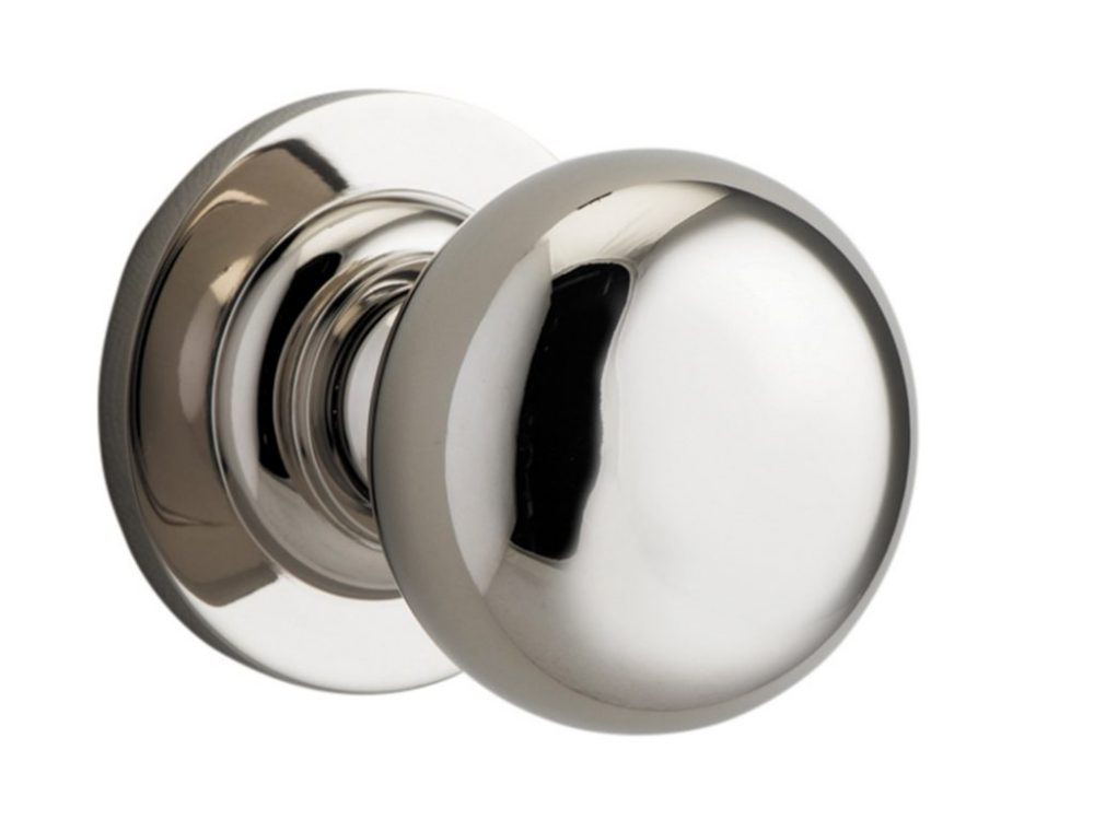 Bankston Cambridge Polished Nickel Knob On Round Rose