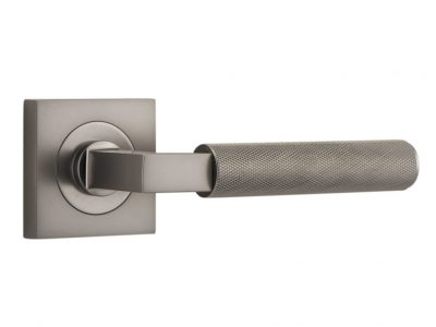 Bankston Brunswick Satin Nickel Lever Handle On Square Rose