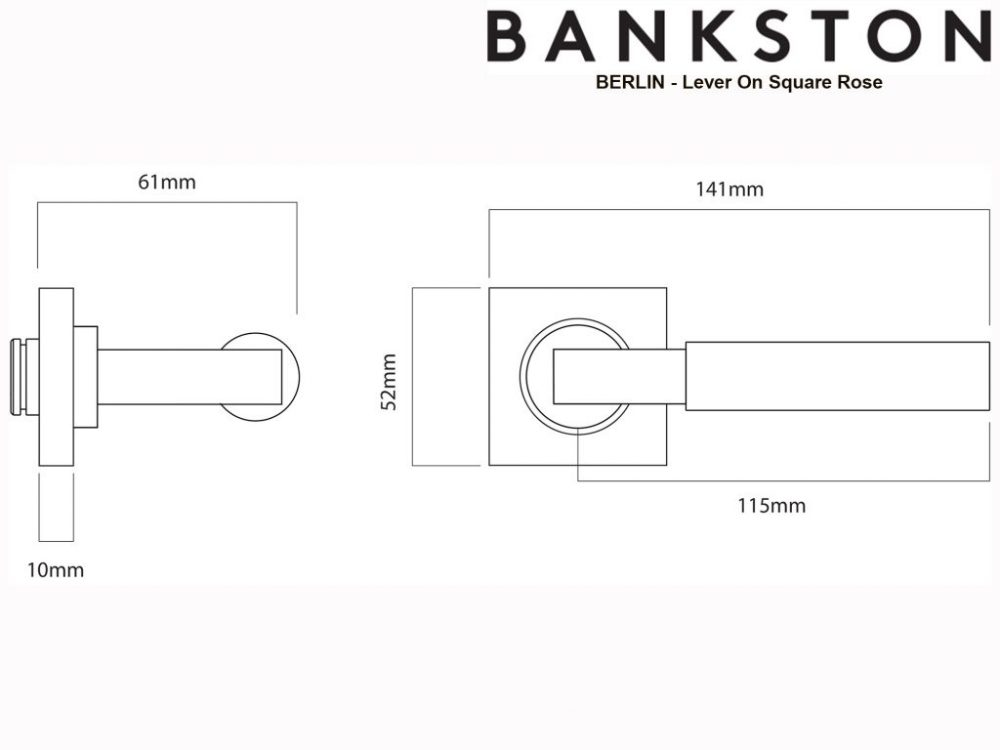 Bankston Berlin Chrome Plate Lever Handle On Square Rose