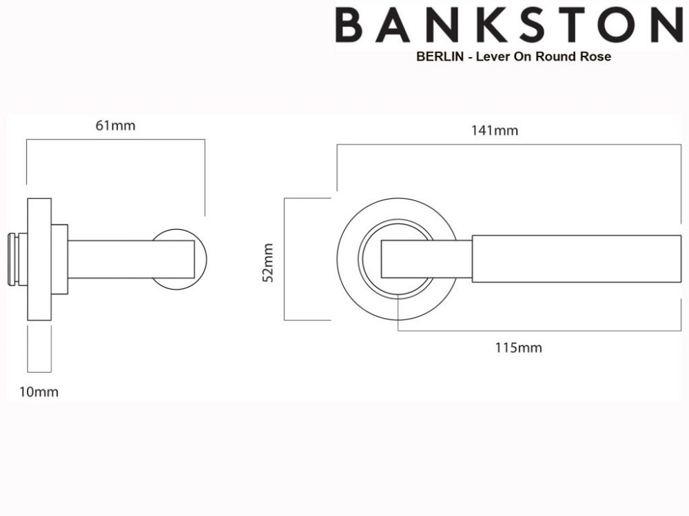 Bankston Berlin Matt Black Lever Handle On Round Rose