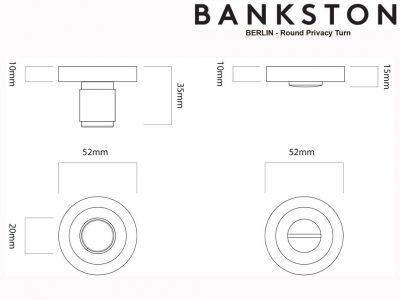 Bankston Berlin Antique Brass Round Privacy Turn