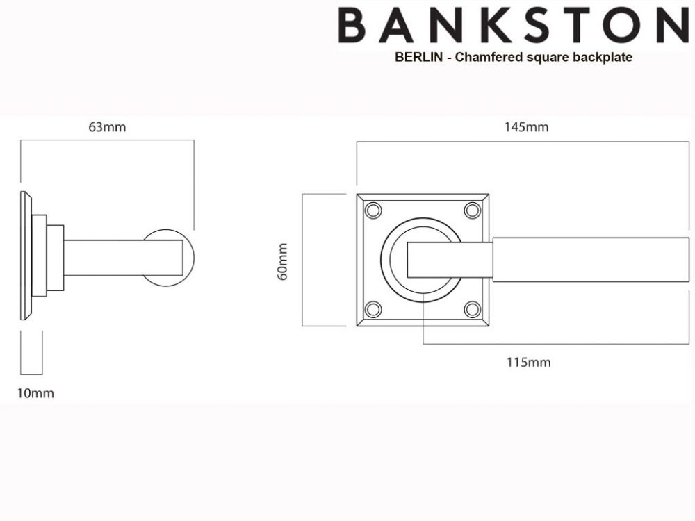 Bankston Berlin Antique Brass Lever Handle On Chamfered Square Backplate