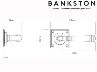 Bankston Verona Antique Brass Lever Handle On Chamfered Square Backplate