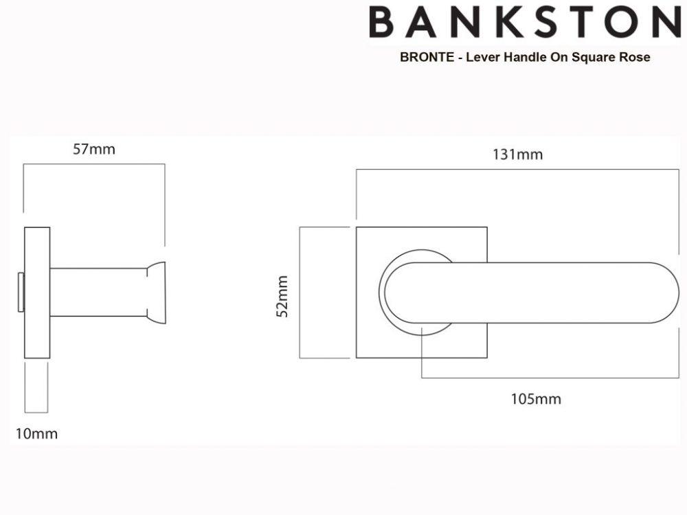 Bankston Bronte Polished Nickel Lever Handle On Square Rose