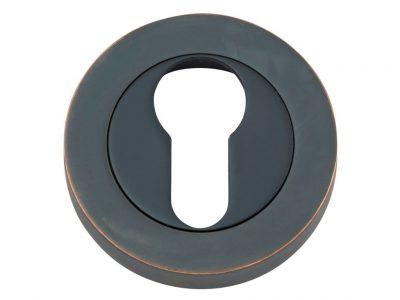 Bankston Antique Copper Round Euro Keyhole Escutcheon