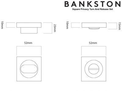 Bankston Antique Brass Square Privacy Turn