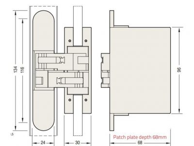 Ceam 70kg 2D Concealed Door Hinge For Glass